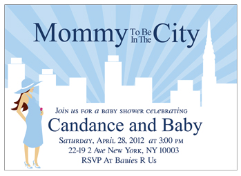 mommy to be in the city baby shower invitation