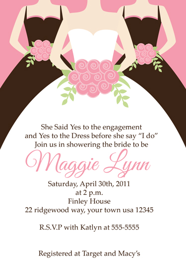 Bride and Bridemaids Bridal shower Invitations
