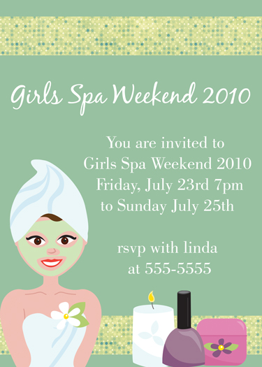 Girls Weekend  Spa Invitations