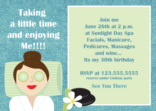 Grown up Spa Invitations