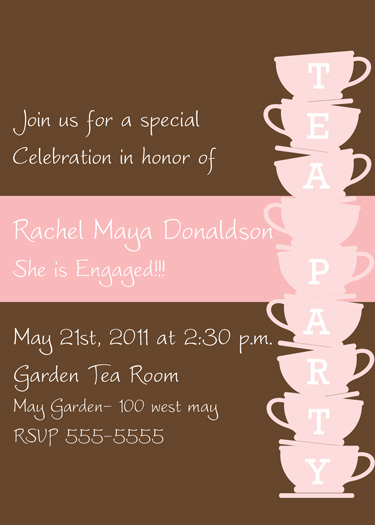 Tea Party Engagement Invitations