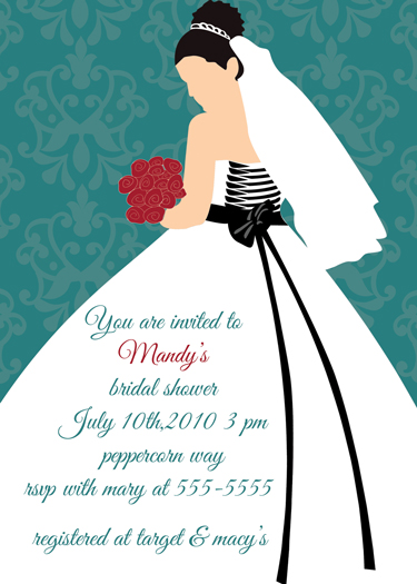 wedding dress-damask bridal shower invitation